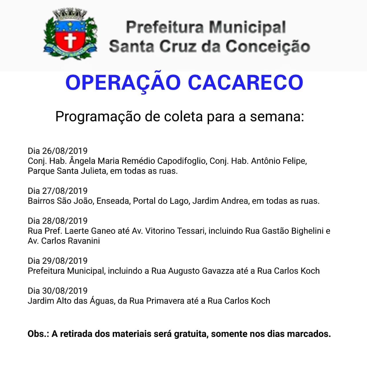 OPERAÇÃO CACARECO - AGOSTO 2019